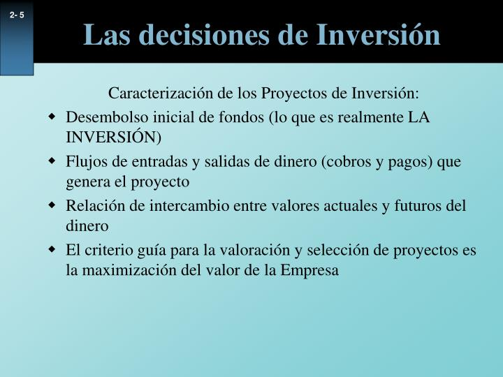 Las decisiones de Inversión