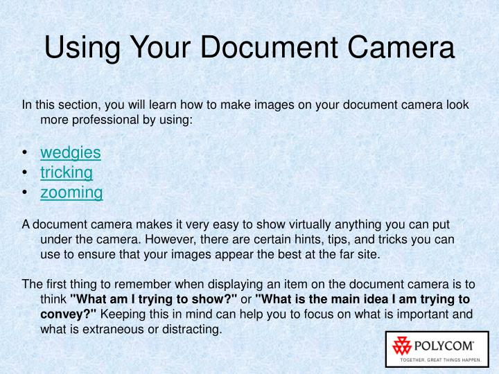 Using Your Document Camera