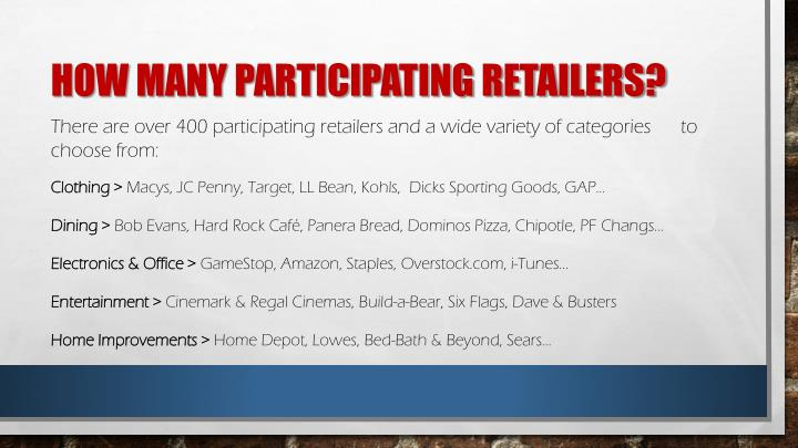 How many participating retailers?