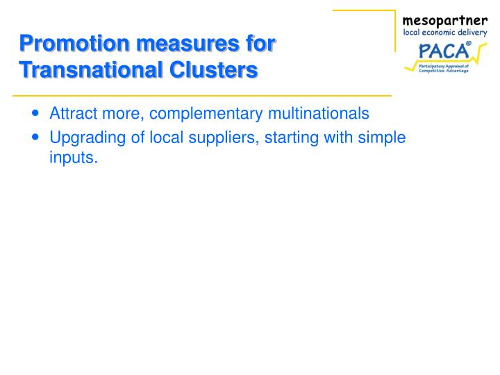 Promotion measures for Transnational Clusters