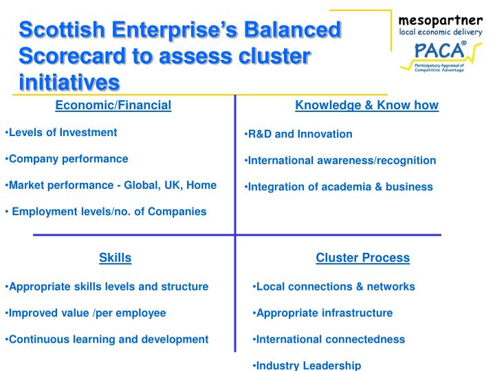 Scottish Enterprise's Balanced Scorecard to assess cluster initiatives