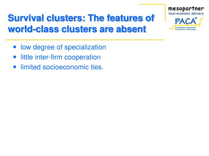 Survival clusters: The features of world-class clusters are absent