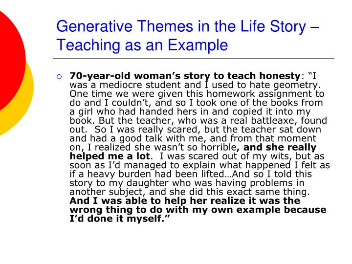 Generative Themes in the Life Story – Teaching as an Example