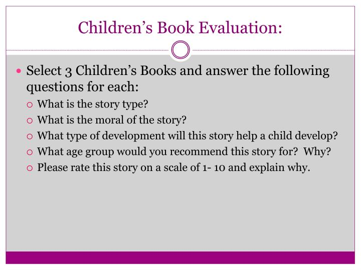 Children's Book Evaluation: