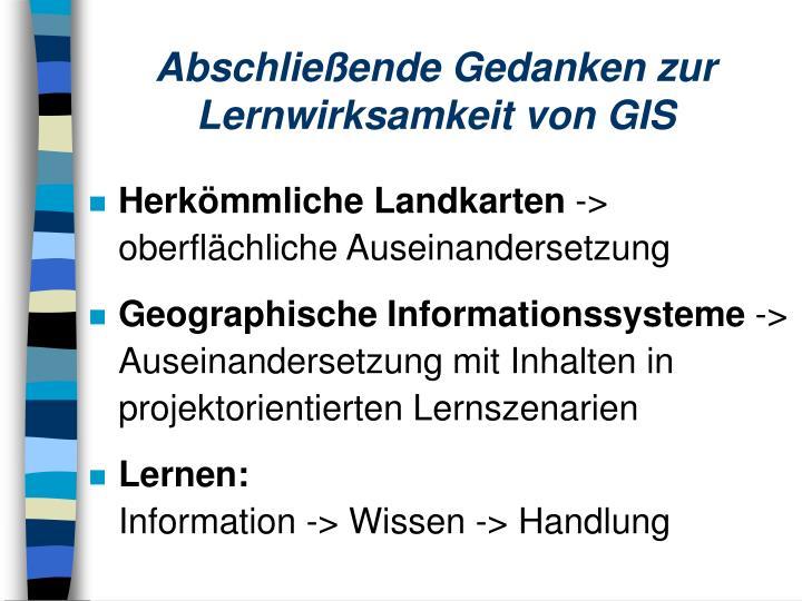 Abschließende Gedanken zur Lernwirksamkeit von GIS