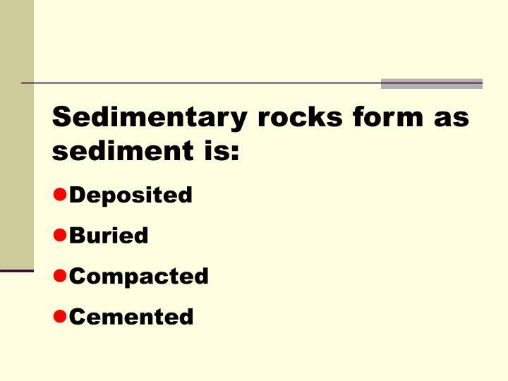Sedimentary rocks form as sediment is: