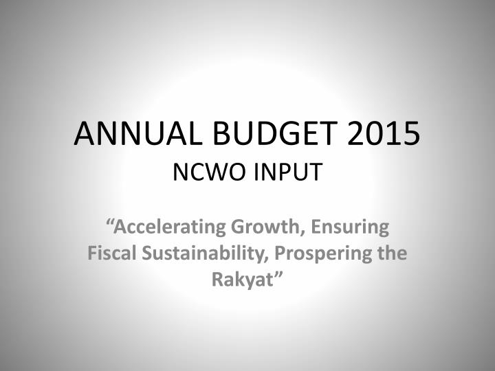 ANNUAL BUDGET 2015