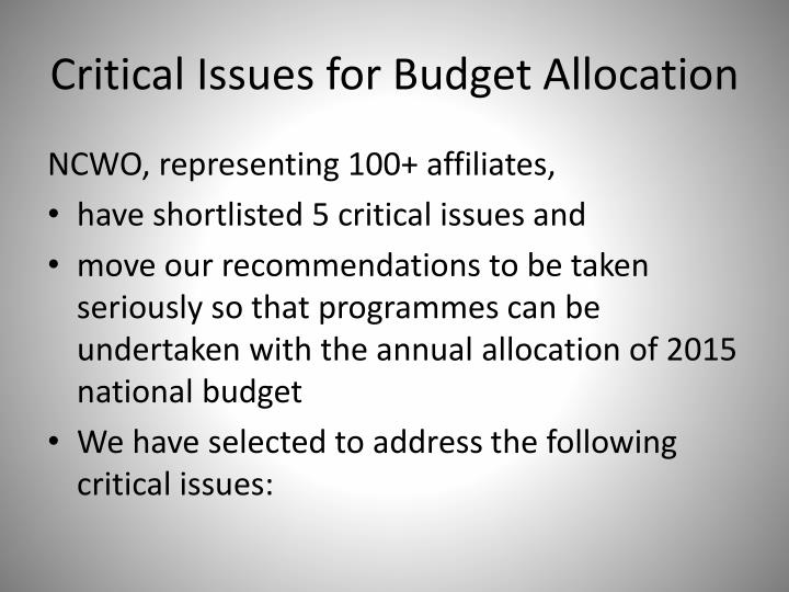 Critical issues for budget allocation