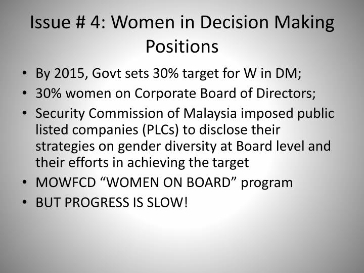 Issue # 4: Women in Decision Making Positions