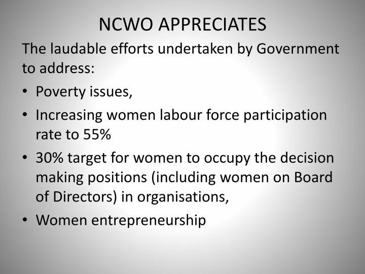 NCWO APPRECIATES