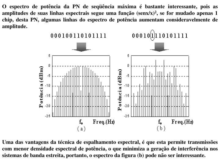 O espectro de potência da PN de seqüência máxima é bastante interessante, pois as amplitudes de suas linhas espectrais segue uma função (senx/x)