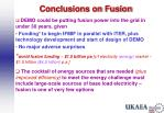 conclusions on fusion