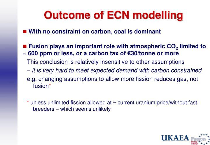 Outcome of ECN modelling