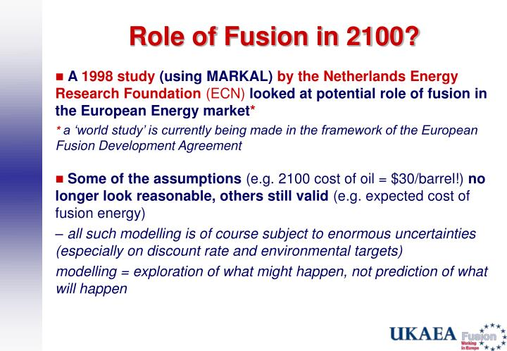 Role of Fusion in 2100?