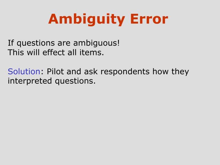 Ambiguity Error