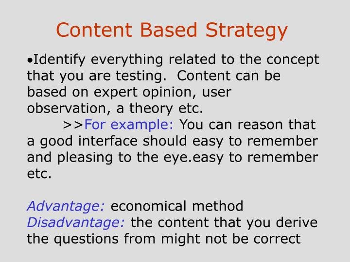Content Based Strategy