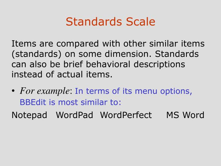 Standards Scale