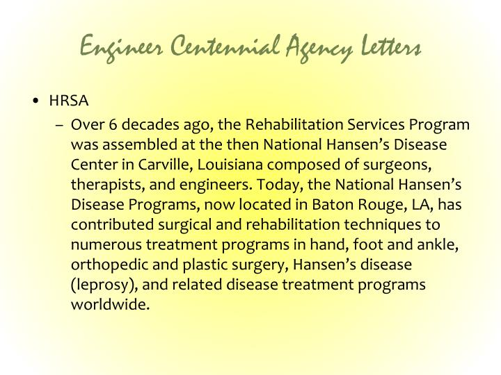 Engineer Centennial Agency Letters