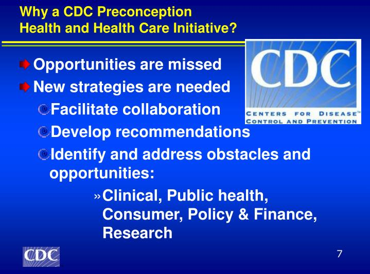 Why a CDC Preconception