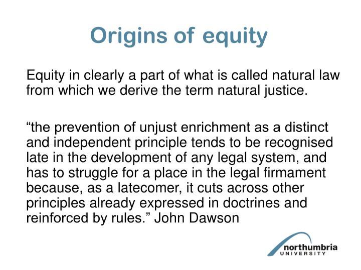 Origins of equity
