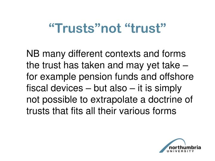 """Trusts""not ""trust"""