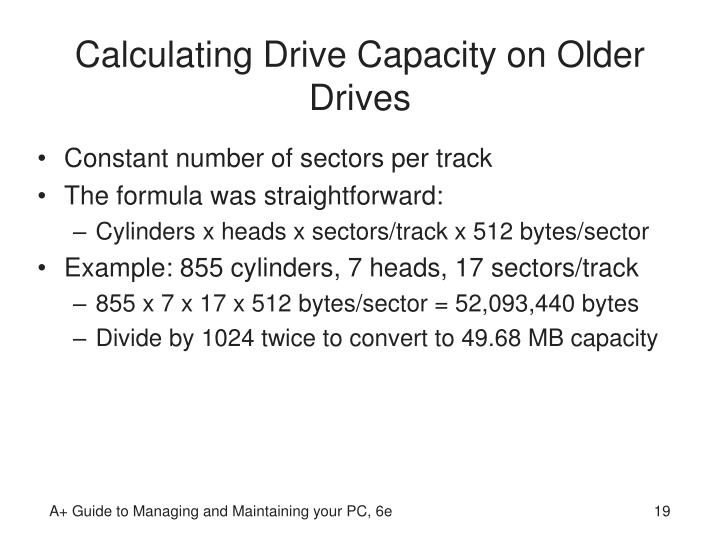 Calculating Drive Capacity on Older Drives