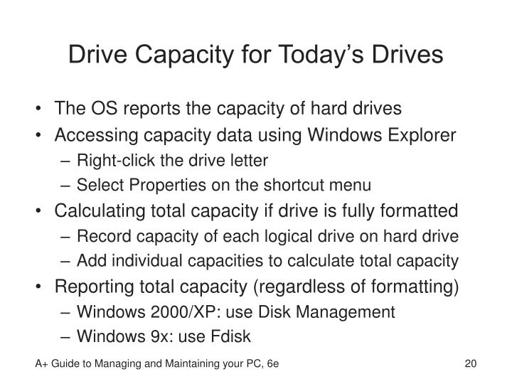 Drive Capacity for Today's Drives