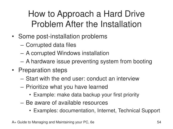 How to Approach a Hard Drive Problem After the Installation