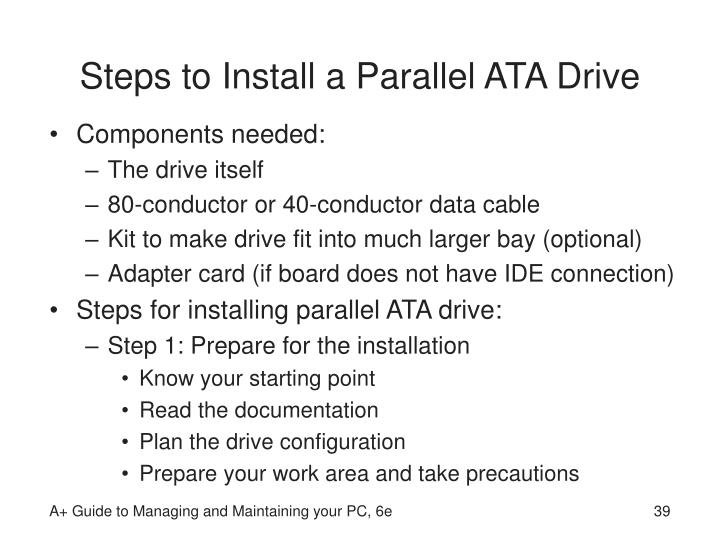Steps to Install a Parallel ATA Drive