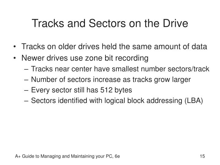 Tracks and Sectors on the Drive