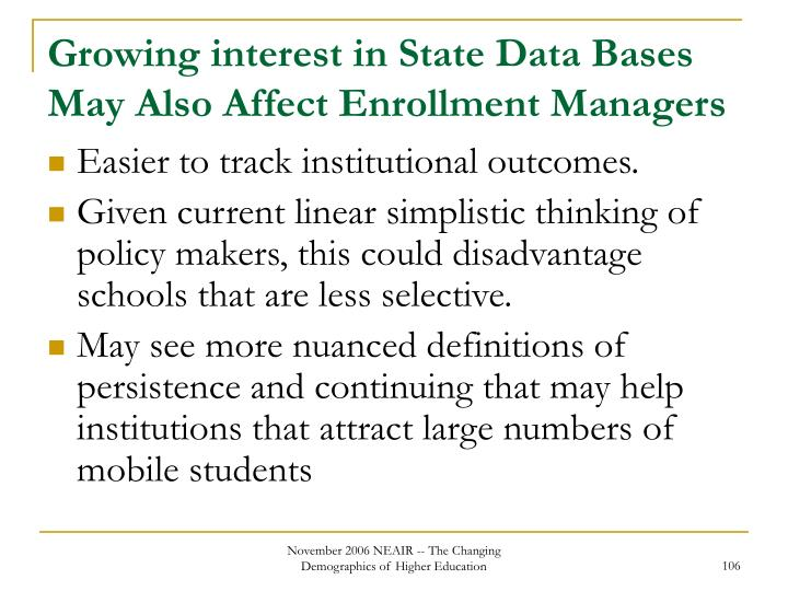 Growing interest in State Data Bases May Also Affect Enrollment Managers