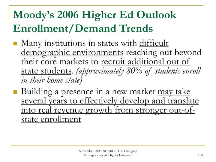 Moody's 2006 Higher Ed Outlook Enrollment/Demand Trends