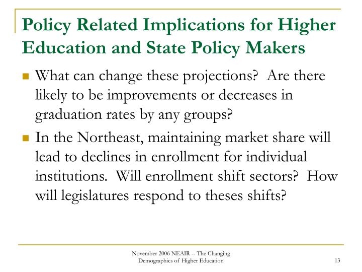 Policy Related Implications for Higher Education and State Policy Makers