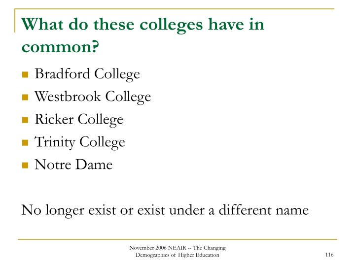What do these colleges have in common?
