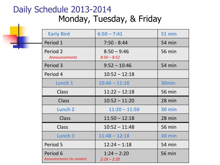 Daily Schedule 2013-2014