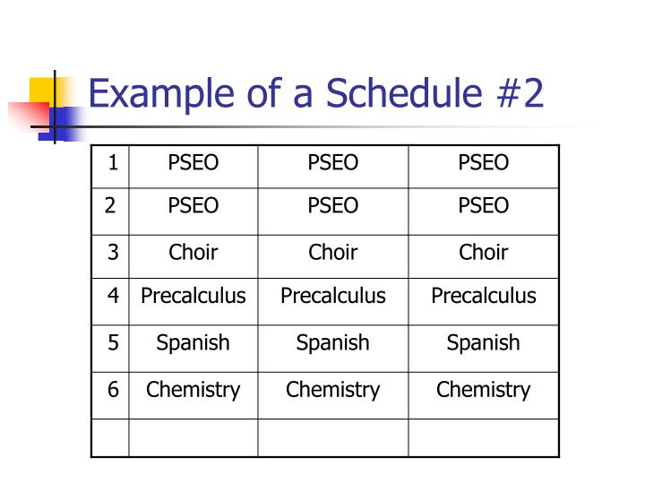Example of a Schedule #2