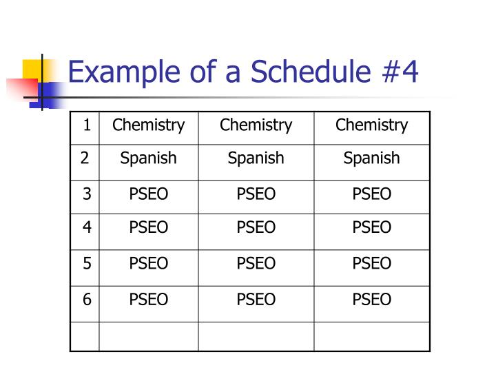 Example of a Schedule #4