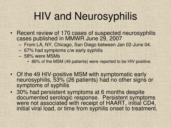 HIV and Neurosyphilis
