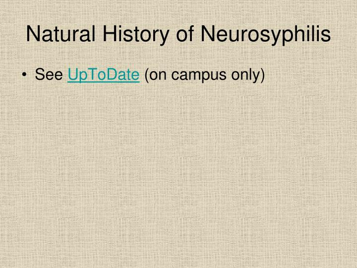 Natural History of Neurosyphilis