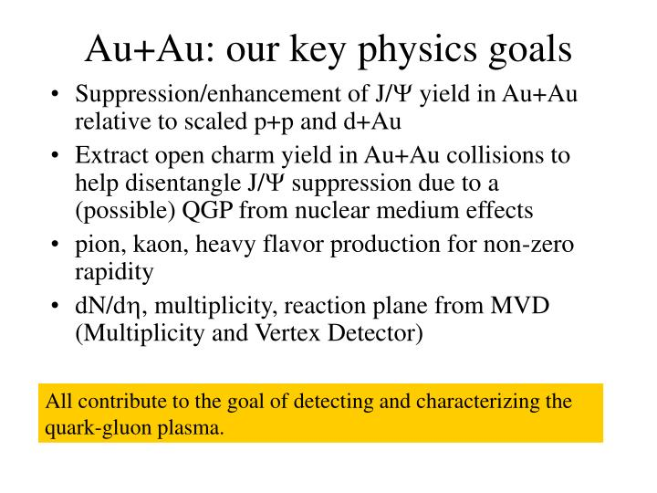 Au+Au: our key physics goals