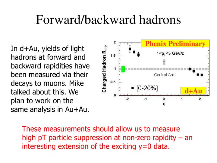 Forward/backward hadrons