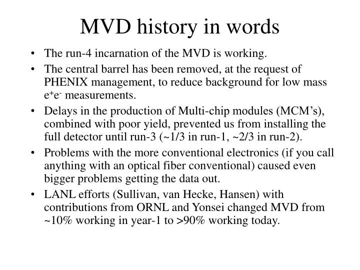 MVD history in words
