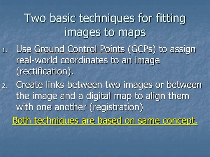 Two basic techniques for fitting images to maps