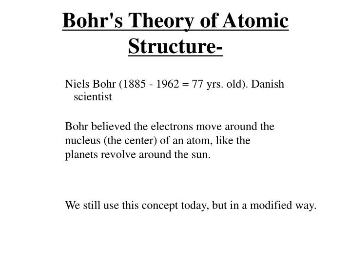 Bohr's Theory of Atomic Structure-