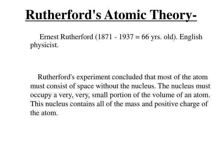 Rutherford's Atomic Theory-