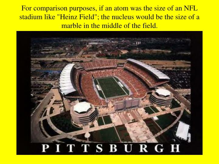 "For comparison purposes, if an atom was the size of an NFL stadium like ""Heinz Field""; the nucleus would be the size of a marble in the middle of the field."