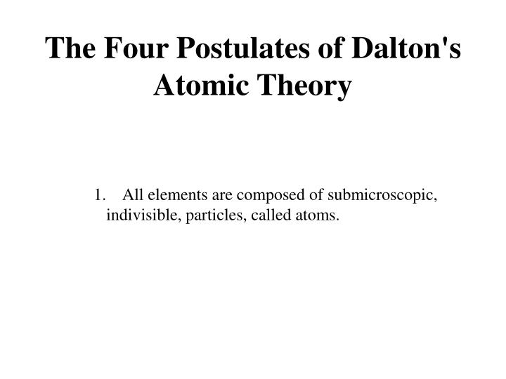 The Four Postulates of Dalton's Atomic Theory
