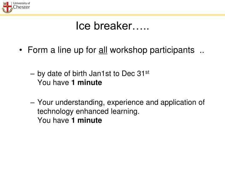 Ice breaker…..