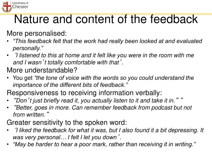 Nature and content of the feedback