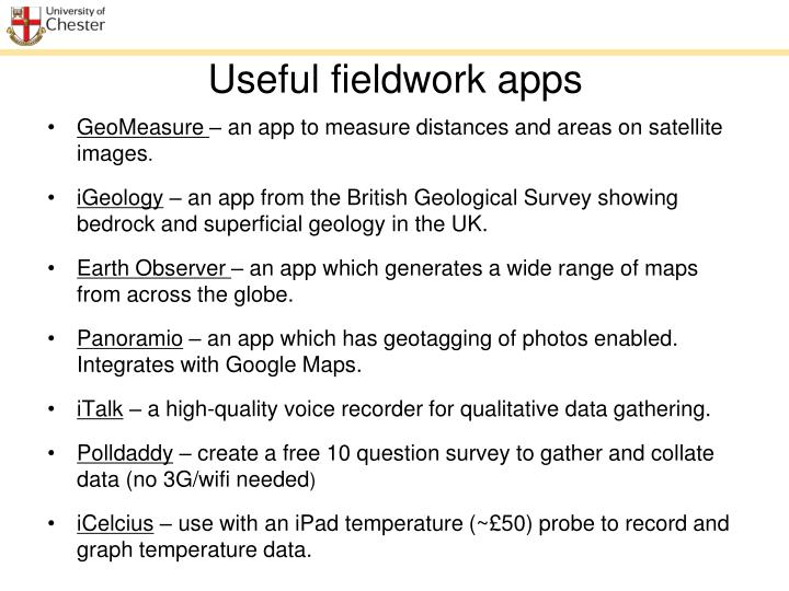 Useful fieldwork apps
